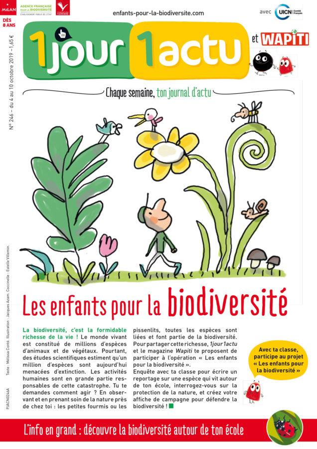 Couverture 1jour1actu Les enfants pour la biodiversité